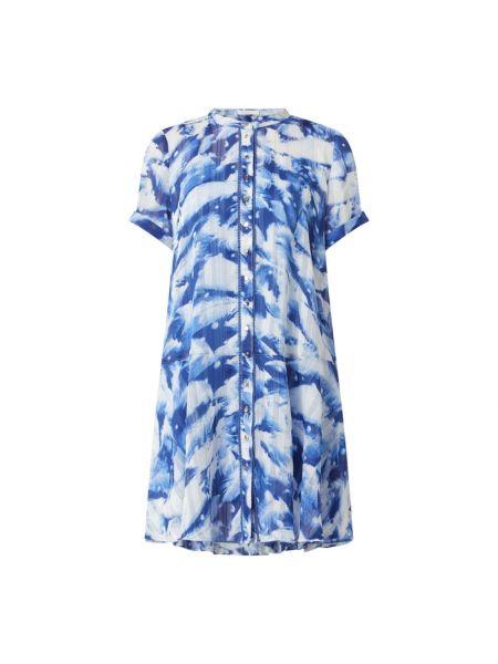Niebieska sukienka mini rozkloszowana z szyfonu Freebird