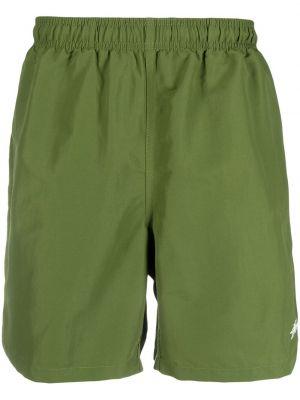 Нейлоновые зеленые шорты для плаванья с карманами Stussy