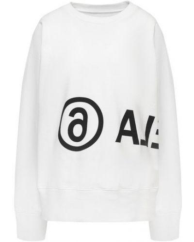 Белый хлопковый свитшот с надписью Mm6