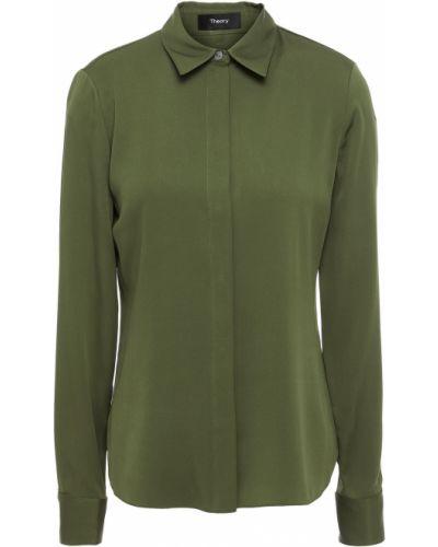 Зеленая рубашка из крепа Theory
