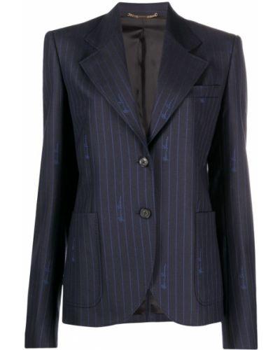 Шерстяной синий удлиненный пиджак с карманами Versace