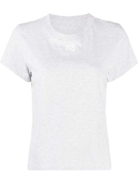 Хлопковая прямая серая футболка с круглым вырезом T By Alexander Wang