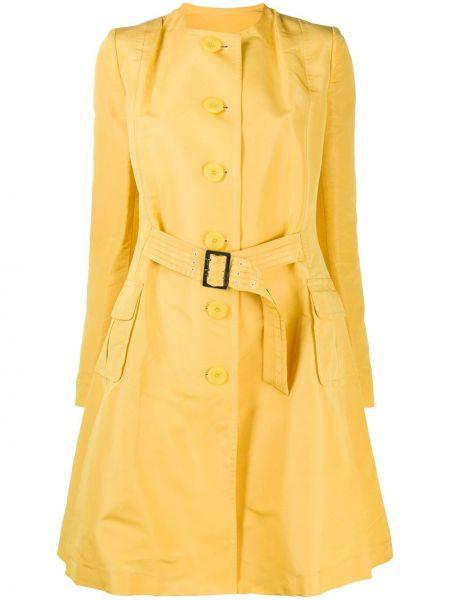 Желтое длинное пальто для полных с воротником John Galliano Pre-owned