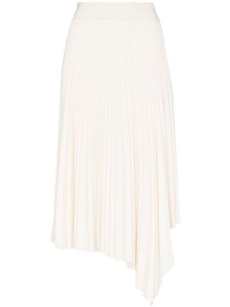 Белая плиссированная юбка миди из вискозы Joseph