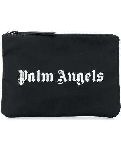Bawełna skórzany czarny torba sprzęgło Palm Angels