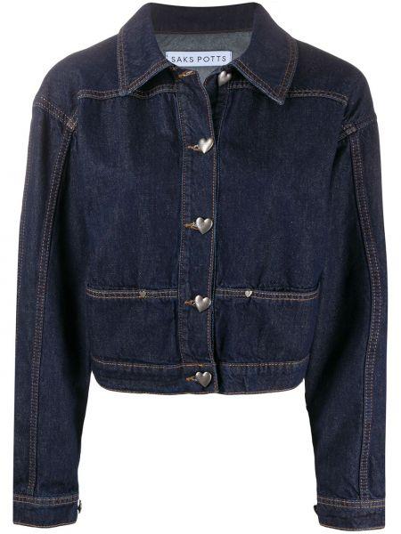 Хлопковая синяя джинсовая куртка с воротником Saks Potts