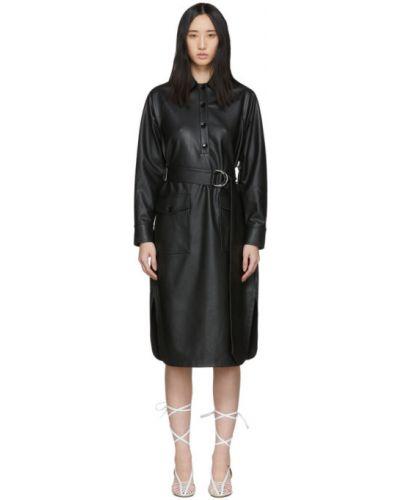 Кожаное с рукавами черное платье макси Tibi