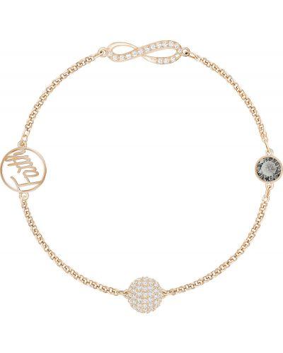 Золотой браслет с подвесками с камнями Swarovski