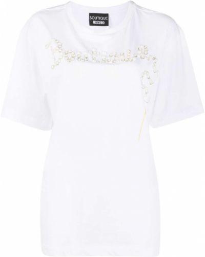 Хлопковая белая прямая футболка с круглым вырезом Boutique Moschino