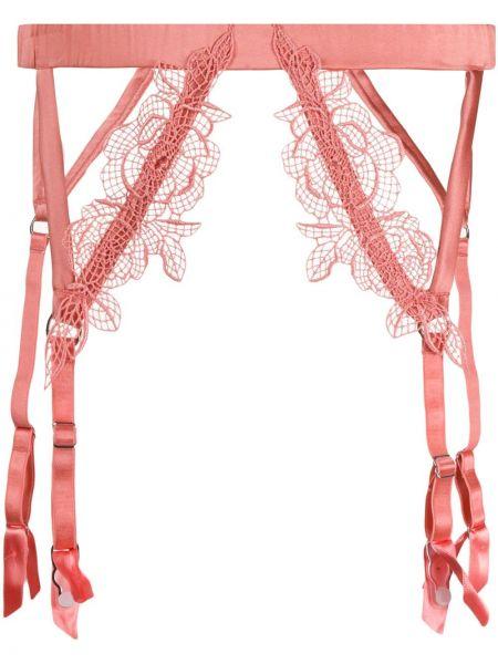 Ажурные розовые чулки с поясом на бретелях Fleur Of England
