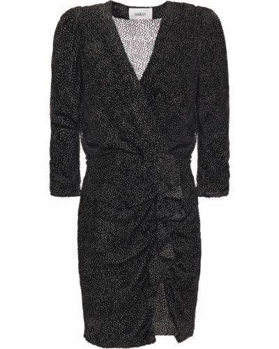 Шифоновое черное платье мини с оборками Ba&sh