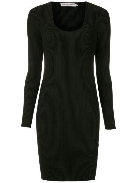 Черное платье макси с длинными рукавами с вырезом Reinaldo Lourenço