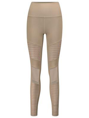 Beżowy nylon legginsy na jogę Alo Yoga