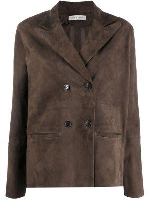 Коричневая кожаная куртка двубортная Inès & Maréchal