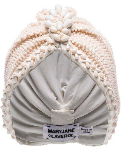 Włókienniczy beżowy turban z falbankami Maryjane Claverol