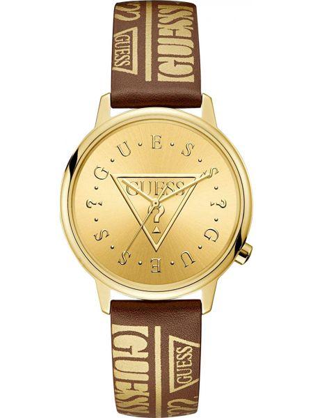 Золотистые с ремешком кожаные желтые часы на кожаном ремешке Guess Originals