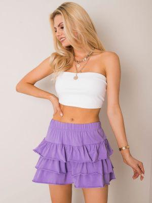 Fioletowa spódnica rozkloszowana bawełniana Fashionhunters