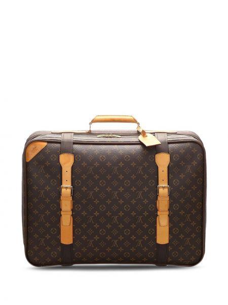 Коричневый кожаный чемодан винтажный Louis Vuitton