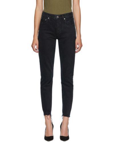 Черные джинсы классические с манжетами стрейч Agolde