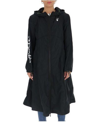 Czarny płaszcz przeciwdeszczowy elegancki z kapturem Off-white