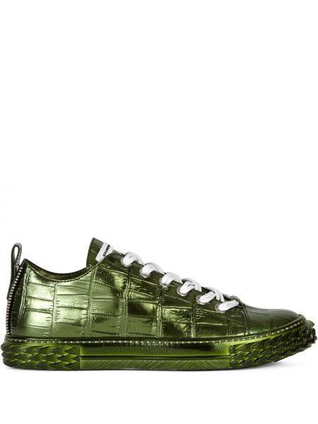 Koronkowa zielony skórzany sneakersy Giuseppe Zanotti