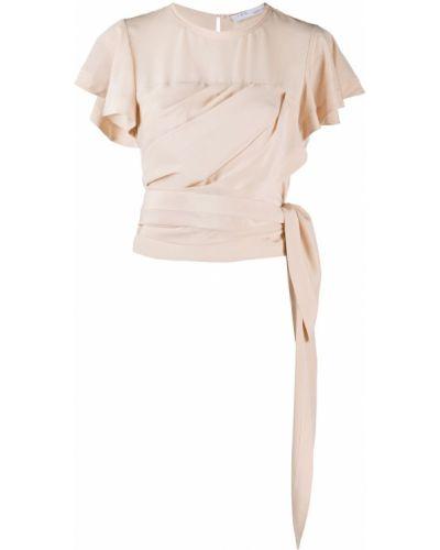 Шелковая розовая блузка с запахом с вырезом Iro