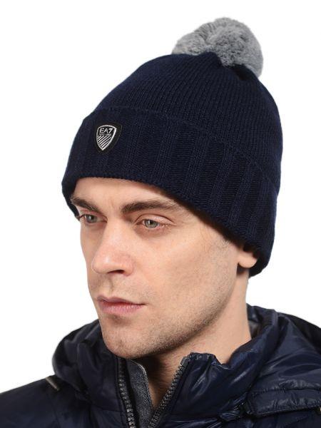 Синяя акриловая шапка Ea7 Emporio Armani