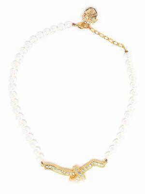 Biały złoty naszyjnik z pereł Erdem
