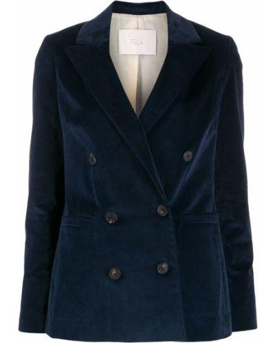 Приталенный синий удлиненный пиджак с карманами Tela
