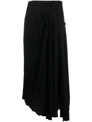 Черная с завышенной талией асимметричная юбка миди на молнии Rochas