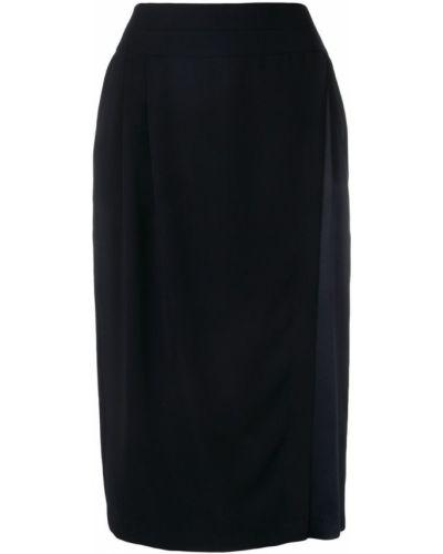 Синяя юбка карандаш с поясом с рукавом 3/4 Frenken