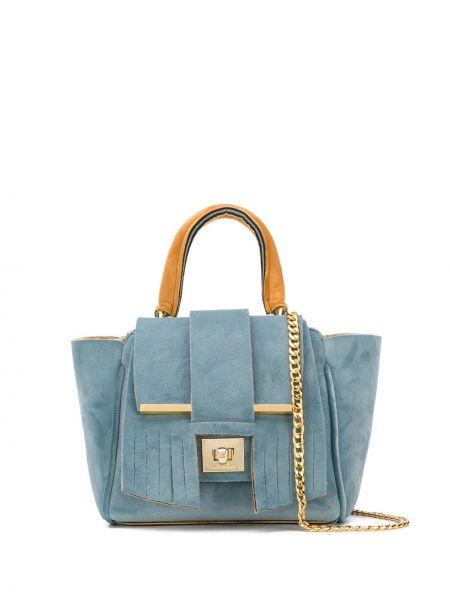 Синяя мягкая сумка на цепочке с бахромой Alila