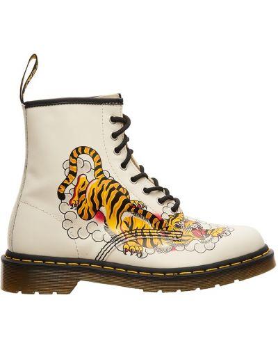 Кожаные ботинки белые черные Dr.martens