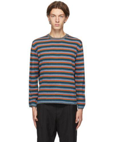 Sweter wełniany w paski z długimi rękawami Comme Des Garcons Homme Deux