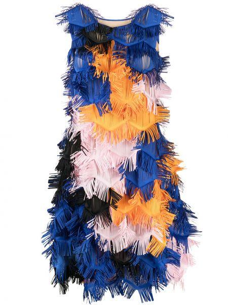 Платье мини с вырезом - синее Paskal