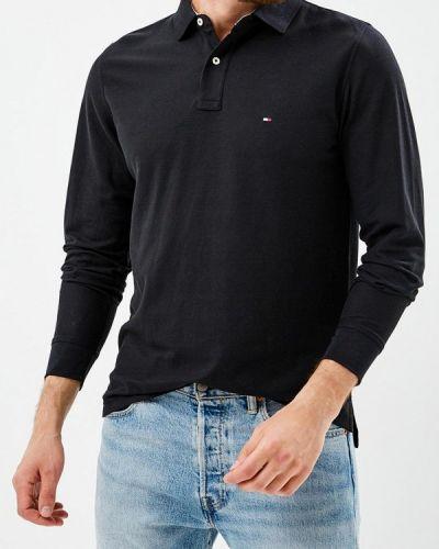 Черное поло с длинным рукавом Tommy Hilfiger
