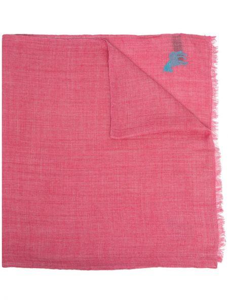 Różowy szalik wełniany z haftem Paul Smith