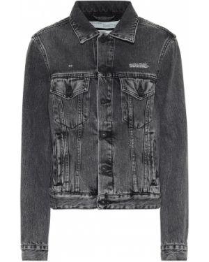 Ватная хлопковая черная джинсовая куртка Off-white