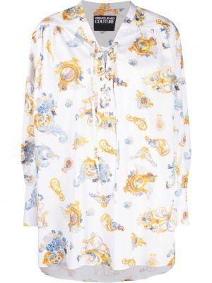 Джинсовая рубашка длинная - белая Versace Jeans Couture