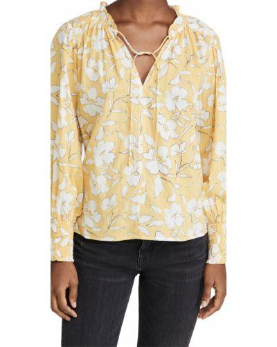Желтая блузка с воротником с длинными рукавами Velvet