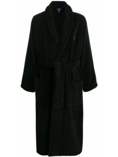 Czarny szlafrok bawełniany z haftem Polo Ralph Lauren