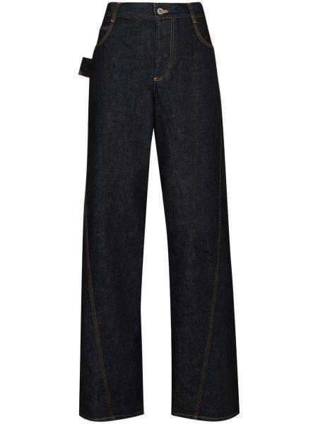 Синие широкие джинсы с карманами свободного кроя Bottega Veneta