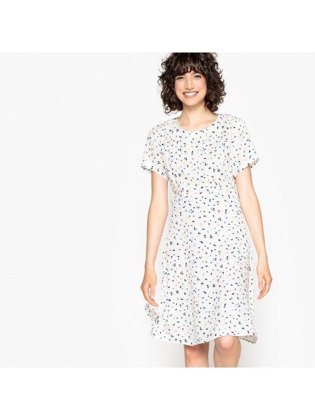 Расклешенное платье миди с рисунком с вырезом с короткими рукавами NÜmph