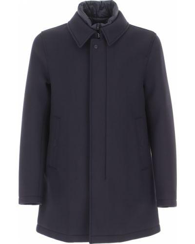 Niebieski zimowy płaszcz zapinane na guziki od płaszcza przeciwdeszczowego z kieszeniami Herno