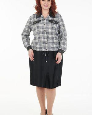 Черная плиссированная юбка на резинке Wisell