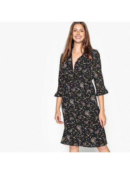 Расклешенная блузка с длинным рукавом с V-образным вырезом с рисунком хаки See U Soon
