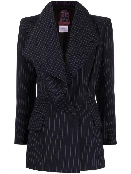 Шерстяной черный пиджак с карманами John Galliano Pre-owned