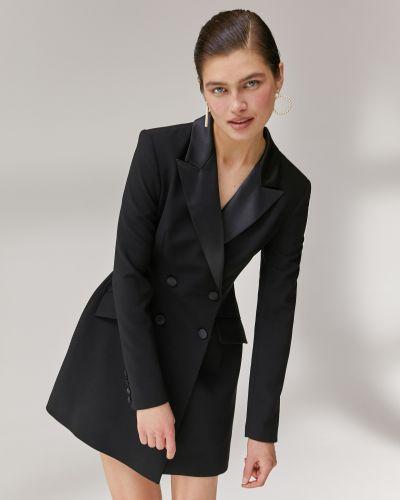 Приталенное черное платье мини свободного кроя 12storeez