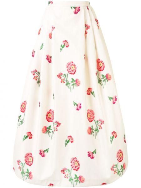 Белая шелковая пышная юбка на молнии Andrew Gn