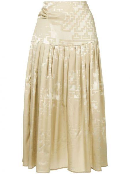 Шелковая коричневая прямая с завышенной талией плиссированная юбка Nehera